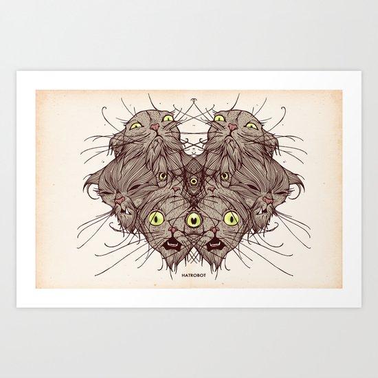 Wet Cats Art Print