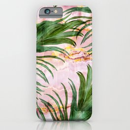 Palm leaf on marble 01 iPhone Case