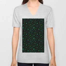 Atomic Starry Night in Neon Green Glow + Black Unisex V-Neck