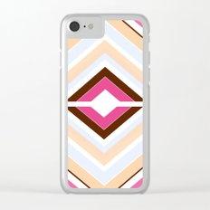 Mod stripes in raspberry Clear iPhone Case