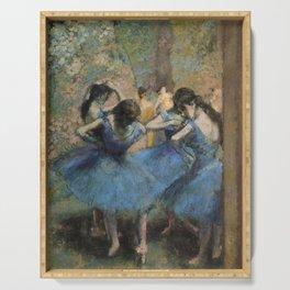 Edgar Degas  -  Dancers In Blue Serving Tray