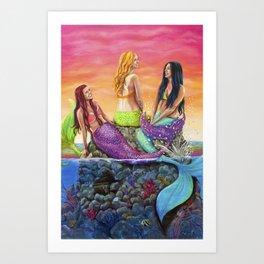 Mermaid Sisters Art Print
