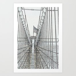 Brooklyn Bridge Cables Abstract Art Print