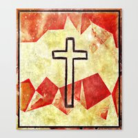 cross Canvas Prints featuring Cross by 6-4-3