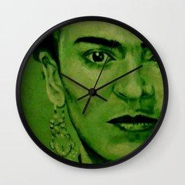 Frida Kahlo - red bow Wall Clock