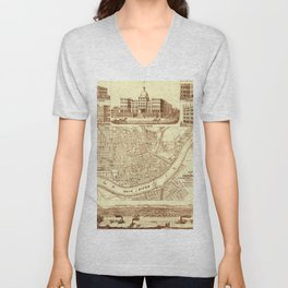 Vintage Cincinnati Map 1850 Unisex V-Neck