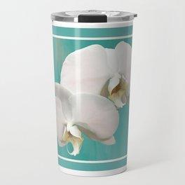 WHITE ORCHIDS - AQUA Travel Mug