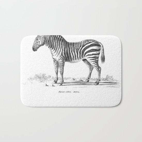 Zebra black and white retro drawing Bath Mat