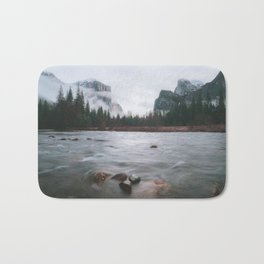 Yosemite Valley View with Fog | Yosemite National Park, CA Bath Mat