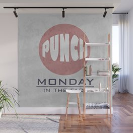 Punch Monday in the face - Red, Blue & Gray Wall Mural
