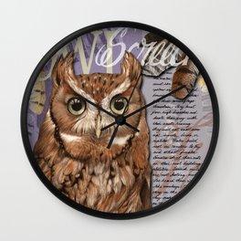 The Screech Owl Journal Wall Clock