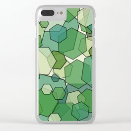 Converging Hexes - Green and Yellow Clear iPhone Case