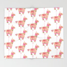 Mexican Donkey Piñata – Pink & Rose Gold Palette Throw Blanket