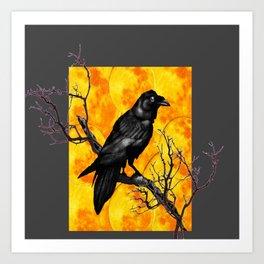 Grey & Gold Pattern  Crow Wildlife Art Art Print