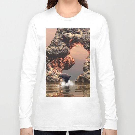 Dolphin in the sunset Long Sleeve T-shirt