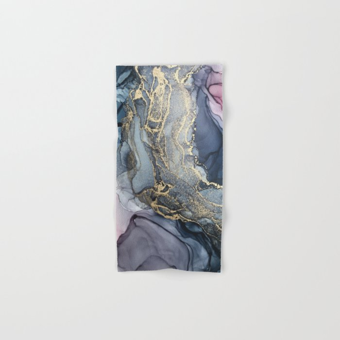 Blush, Payne's Gray and Gold Metallic Abstract Hand & Bath Towel