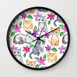 Kittens and Clematis - white Wall Clock