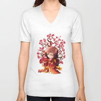 sakura V-neck T-shirts featuring Sakura by Asura Art