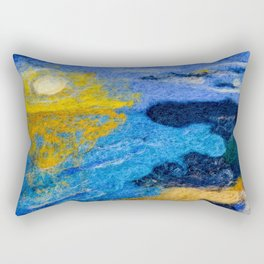 Sunset Bay Needle Felted Landscape Rectangular Pillow