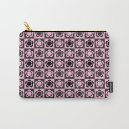 RETRO FLOWER - PINK AND BLACK Carry-All Pouch