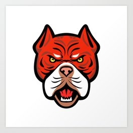 Red Tiger Bulldog Head Front Mascot Art Print
