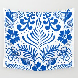 Mexican Folk Floral Ornaments Wall Tapestry