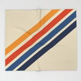 Rainbow 70s 60s Stripe Colorful Rainbow Tan Retro Vintage Throw Blanket