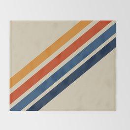Retro 70s Stripe Colorful Rainbow Tan Classic Vintage Throw Blanket