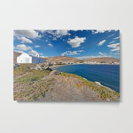 Korissia, which is a natural harbor welcomes you to the island of Kea, Greece Metal Print