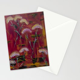 Abstract Red with Dandelions Stationery Cards