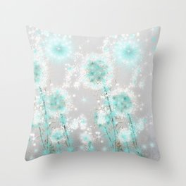 Dandelions in Turquoise Throw Pillow
