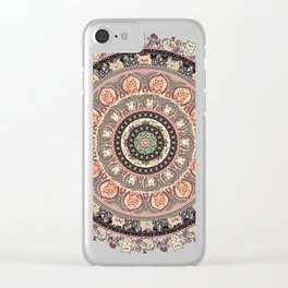 Cat Yoga Medallion Clear iPhone Case