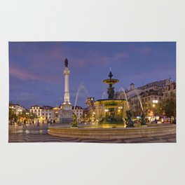 Rossio square at dusk Rug