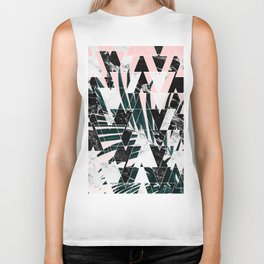 Modern geometric triangles black white abstract marble pattern palm tree leaf pink ombre Biker Tank