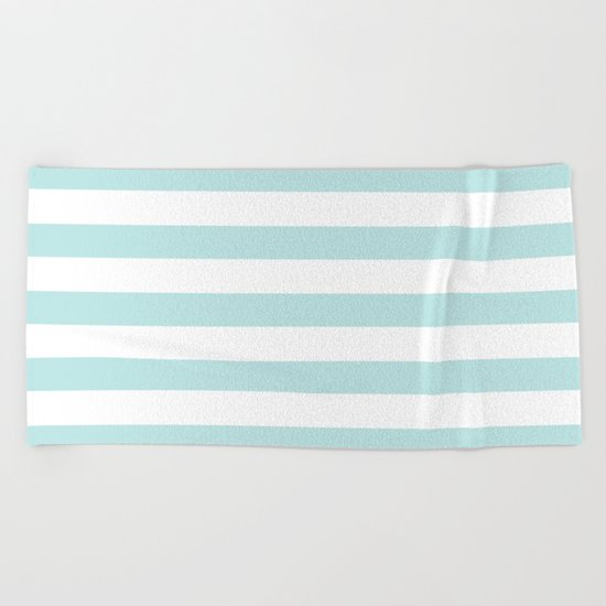Simply Striped in Succulent Blue and White Beach Towel