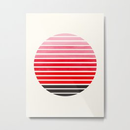 Red Mid Century Modern Minimalist Scandinavian Colorful Stripes Round Circle Frame Metal Print
