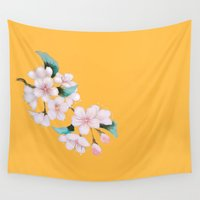 sakura Wall Tapestries featuring Sakura by Priscilla Moore