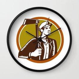 Gardener Landscaper Grub Hoe Woodcut Wall Clock