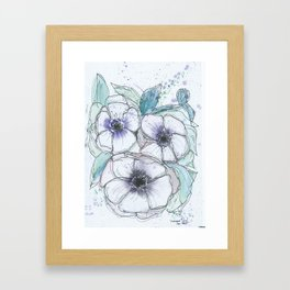 Anemone bouquet illustration watercolor and black ink painting Framed Art Print