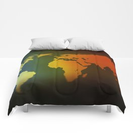 Day and night world map Comforters