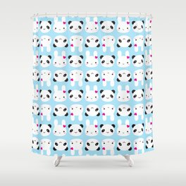 Super Cute Kawaii Bunny and Panda Shower Curtain