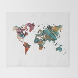 Map of the World triangle Throw Blanket
