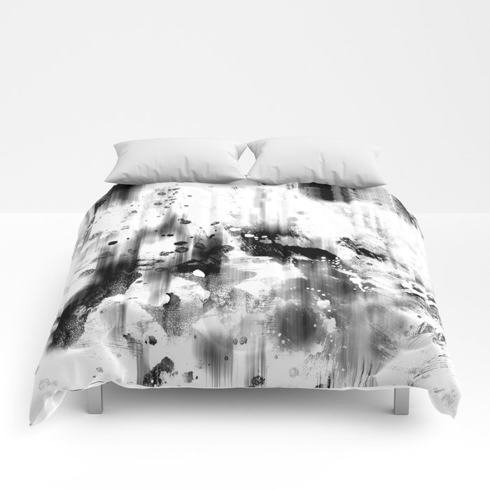 Black And White Splash abstract art Comforters