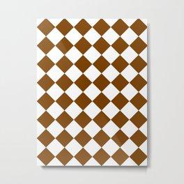 Large Diamonds - White and Chocolate Brown Metal Print