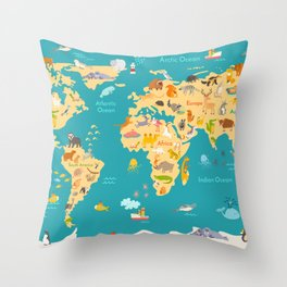 Animal map for kid. World vector poster for children, cute illustrated Throw Pillow