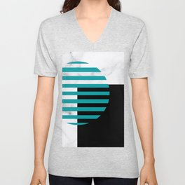 Eighties Inspired Abstract Geometric Teal Blue Circle  Unisex V-Neck