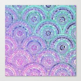 Aqua Blue Purple and Pink Sparkling Glitter Circles Canvas Print