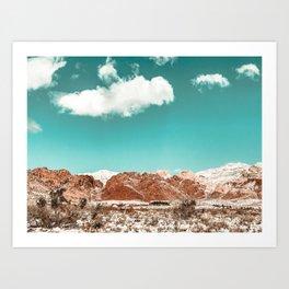 Vintage Red Rocks // Snow in the Mojave Desert Clouds Teal Sky Mountain Range Landscape Art Print