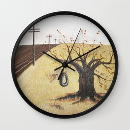 Tire Swing, Old Tree and Swing Painting Wall Clock