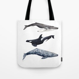 Orca, humpback and grey whales Tote Bag
